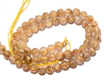 Golden Rutilated Quartz Round Bead, 7mm Gold Rutilated Quartz Smooth Round Beads, 7.5 Inch Half Strand, Sku-S11