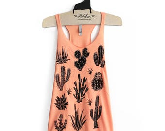 XL- Tri-Blend Peach Racerback Tank with cactus Screen Print