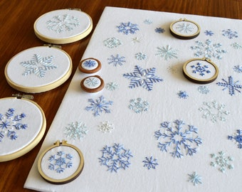 Snowflakes hand embroidery pattern, modern embroidery, embroidery patterns, embroidery PDF, PDF pattern