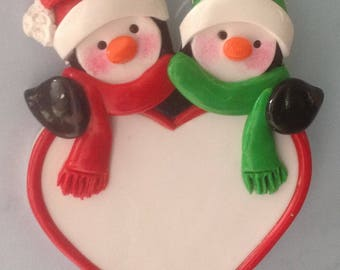 PEnguin Couple on Heart Polymer Clay Personalized Ornament!