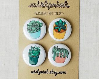 Succulent (Series 2) Pinback Buttons- Set of 4