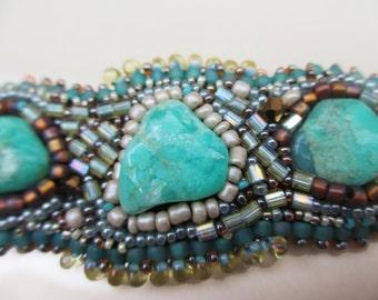 Chrysoprase  bead embroidered bracelet