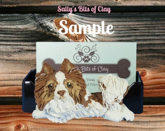Tri Color Pomeranian dog HOLDER for: Business Cards / Cell Phones / IPHONEs / Post It Notes OOAK sculpture by Sally's Bits of Clay