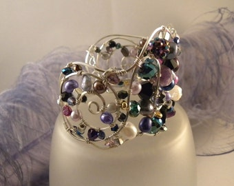 Awesome Crystal and Sterling Silver Wire Cuff