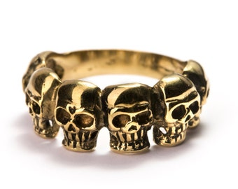 Skulls Halfway Ring Brass Gothic Tribal Unisex Jewellery  Skull Jewelry Gift Boxed + Gift Bag , Free UK Delivery SKH