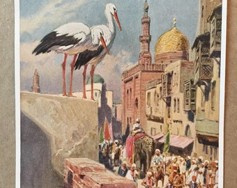 "Vintage Antique German Fairy Tale Color Print of Hauff's ""The Story of Caliph Stork"" c. 1939"