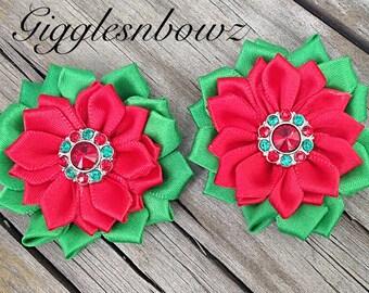 "Christmas Satin Flowers- Satin Ribbon Flowers- 1.75""- Headband Flowers- Diy Supplies- Fabric Flowers- Hair Accessories- Rhinestone Flowers"