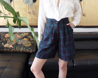 90s The Limited Plaid High Waist Shorts 26w