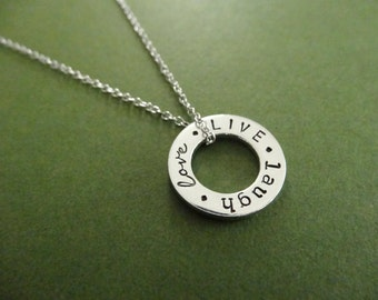 Live Laugh Love Necklace - Custom Washer Necklace - Personalized Jewelry
