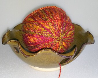Amber and Golden Pottery Yarn Bowl Wheel Thrown with Scalloped Rim