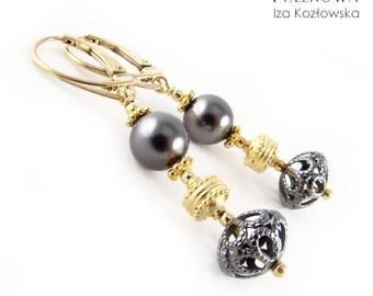 Anastazja - silver earrings with Swarovski pearls