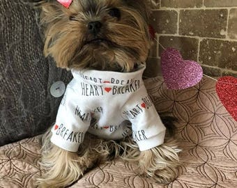 Heartbreaker Dog Outfit, Dog Sweater, Dog Shirt, Dog Clothes, Puppy Shirt