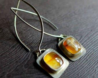 Cross Agate Jerusalem Stone Earrings, Amber Cross Agate Earrings, Religious Cross Gemstone Carnelian Agate Earrings, Christian Jewelry