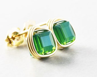 Green Studs, Swarovski Crystal Studs, Square Post Earrings, Green Cube Posts