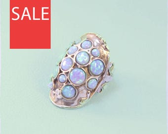 Duerry's Sterling Silver Blue Opal Ring