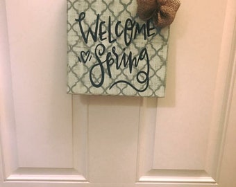 Hand painted welcome spring hanger