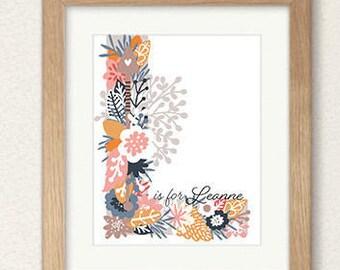 PRINTABLE wall art print,Custom floral letter name print,choose name ,gift print, kids room, baby's room, house warming gift