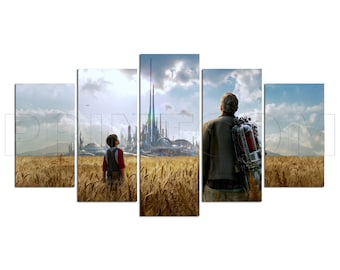 Fantasy Sky Clouds Wheat Field People City Canvas Print Gift 5 Panels