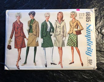 Vintage 1960s Skirt Jacket Suit Pattern // Simplicity 6685 > plus size 18 > XL > Unused > 1966