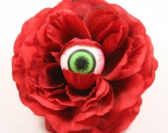 Ruby Red Eyeball Hair Flower