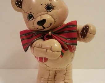 Ceramic Christmas Teddy Bear - 9 3/4 inches tall
