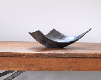 Angular Bowl, hand forged centerpiece, modern steel wedding gift, iron anniversary gift, housewarming gift, industrial home object
