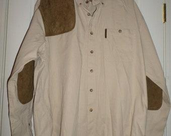 Vintage Mens Shirt XL Tan Brown Color Block Patch Work Elbows