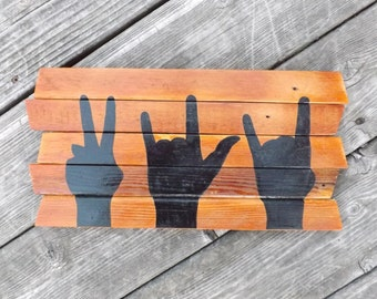 Peace Love Rock and Roll painting on reclaimed wood -