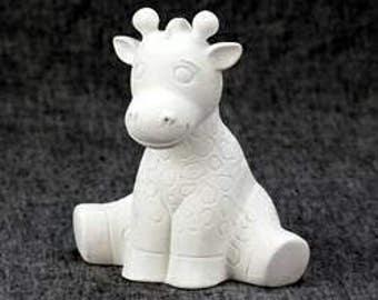 Giraffe Bank - Ceramic Bisque Giraffe - Ready to Paint- U-Paint- Paint Your Own Giraffe Bank - Giraffe Baby - 6 Inch Tall Giraffe Bank -