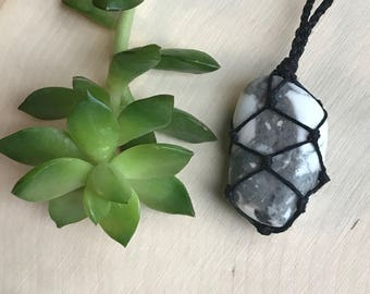 White Howlite Necklace - Black and White Jewelry - Healing Crystal Necklace - White Stone Pendant - Hemp Necklace - Handmade Macrame Jewelry