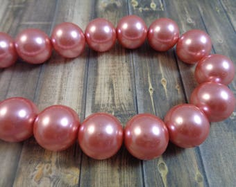 13 Large Round Glass Pearl Beads 14-15mm Shiny Round Glass Beads Large Bright Pink Pearly Metallic Chinese Glass Pearl Beads Bright #S1545