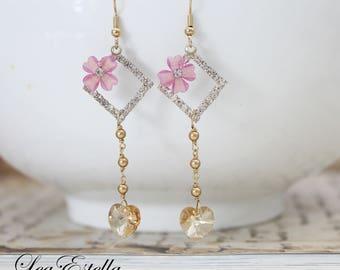Gold Rhinestone earrings Lilac floral earrings Pearl bridal earrings Champagne gold Earrings Heart Shaped earrings - Dainty Hearts