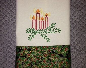 Embroidered Candle Christmas Kitchen Towel