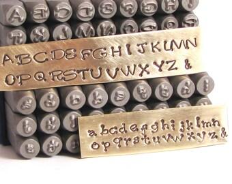 3 mm Piccadilly font stamps, both upper cases and lower case, metal stamp set, steel letter alphabet