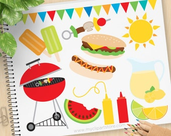 Summer BBQ Clipart, barbecue, picnic, lemonade, hamburgers, hot dogs, ice-cream, watermelon - Commercial Use, Vector clip art, SVG Files