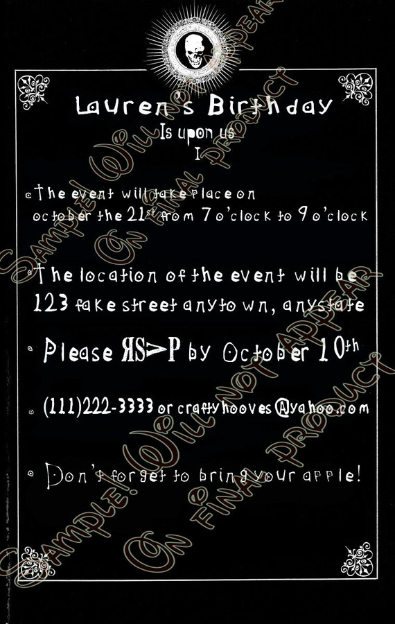 Death Note Party Invitations UPrint Custom Halloween Anime
