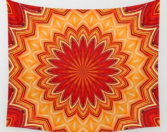 Red Star Mandala Wall Tapestry-Bright Red Wall Hanging-Hippie Boho Pattern Tapestry-Modern Interior Art-Decorative Living Room Wall Tapestry