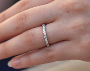 Platinum Diamond Wedding Band, 0.50 Carat, 1.5mm, Women's Half Eternity Wedding Band, Engagement Ring Band, Stacking Stackable Dainty Ring