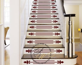 Vinyl Stair Decals for Staircase Riser Decor - Decorative Stair Riser Decal - Stair Stickers Decal - Staircase Decals SET OF TEN (10) ST002