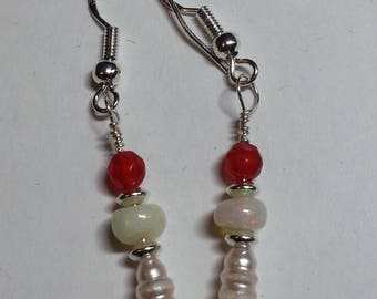 Welo Rainbow Opal, Ruby, Pearl & Sterling Silver earrings