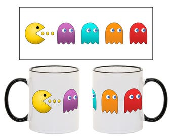 Gamer Coffee Mug, Pac-Man Inspired 11oz Mug, Pac man, Pacman, Video Gamer Mug, Coffee Mug For Gamer, Funny Gamer Gifts, Gifts For Gamers