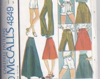McCalls Pattern #4849 from  1975  Misses  Skirt, Pants or Shorts   Waist 26 1/2