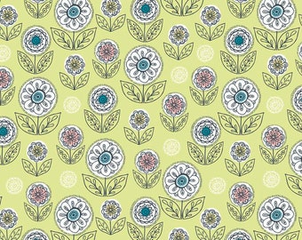 By The HALF YARD - Dutch Treat by Betz White for Riley Blake, #C5283 Dutch Garden Green, Large White, Pink and Blue Flowers, Outlined Leave