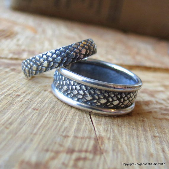 Dragon Scales Matching Wedding Bands Mother of Dragons Wedding