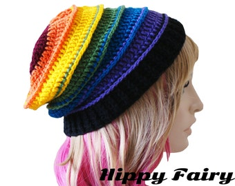 Carnival Multicoloured stripes womans slouchy beanie hat patchwork music festival style