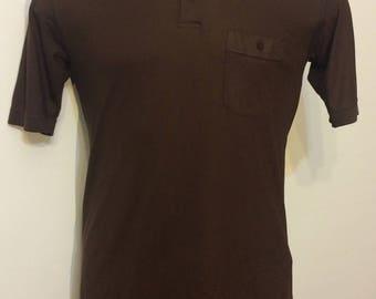 Vintage MENS 1980s Arrow Sportswear Tournament brown polo shirt, size L