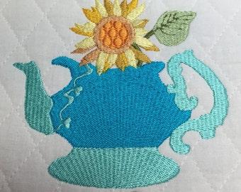 tea, embroidery design tea pot and Sunflower embroidery design file