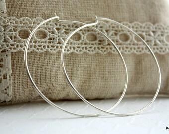 Large Hoop Earrings , Silver Hoop Earrings , Sterling Silver Hoops , 2 Inch Hoop