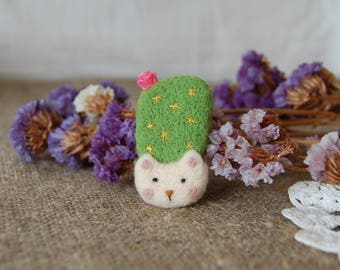 Brooch wool cactus Needle felted brooch Brooch floral wool Green brooch Flower brooch Wool brooch Felted brooch Gift for her Flowers art
