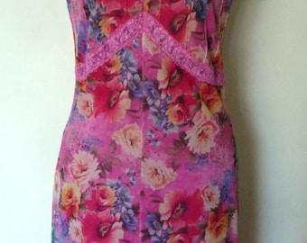 1990's Pink Mesh Floral Dress